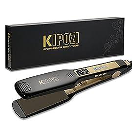 kipozi professional titanium flat iron hair straightener - 51odvLYuY5L - KIPOZI Professional Titanium Flat Iron Hair Straightener with Digital LCD Display, Dual Voltage, Instant Heating, 1.75 Inch Wide Black.