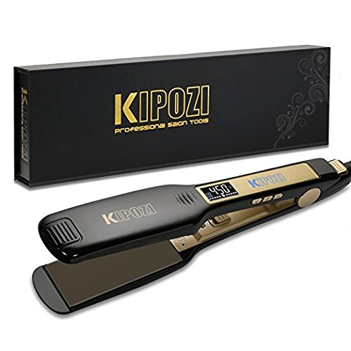 KIPOZI Professional Titanium Flat Iron Hair Straightener with Digital LCD Display,Dual Voltage,Instant Heat Up,1.75 inch wide (Flat Iron Curly Hair)