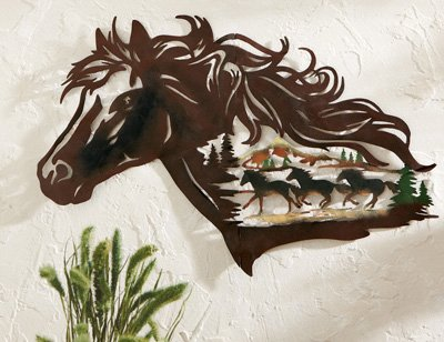 Metal Western Horse Shadow Wall Art, (Western Wall Decor Cheap)