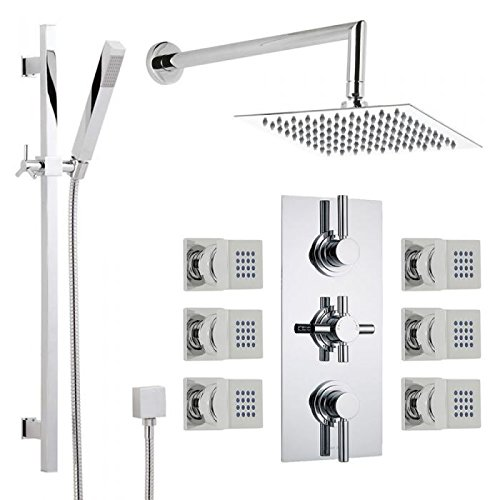 Hudson Reed Chrome Thermostatic Shower System With Square Rainfall Head, Extended Wall Arm, Slide Rail Kit, Handset And Six Body Jets (6 Jet Spray Showerhead)