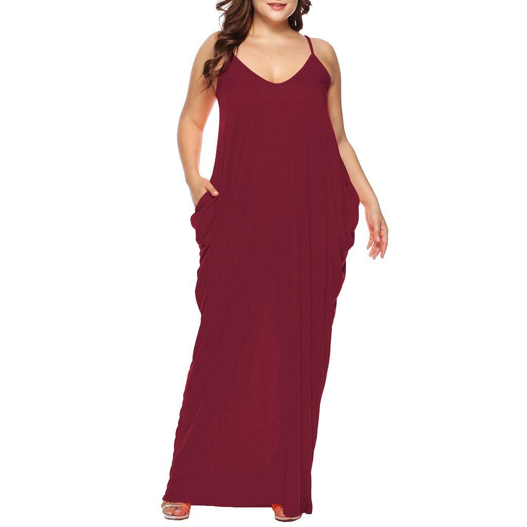 241810134df6 Amazon.com: Women's Strappy Loose Long Dress Summer Casual Plain Flowy  Pockets Loose Beach Cami Maxi Dress Plus Size: Clothing