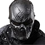 Skull Airsoft Masks Full Face - Tactical Mask Metal Mesh Eye Protection BB Gun/CS Game/Paintball/Hunting - Outdoor Ghost Mask Army Men&Women Zombie Scary Skeleton Masks Costume