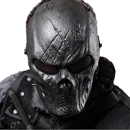 [Tactical Mask Skull Full Face with Metal Mesh Eye Protection-Airsoft/BB Gun/CS Game-Zombie Masks Heads Scary for Cosplay Party Halloween Tricky Man&Women] (Horror Mask)