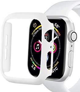 Sunkeyou Matte Hard Case for Apple Watch Series 6/SE/5/4 40mm 44mm, Series 3/2 38mm 42mm Ultra-Thin Protector Accessories Lightweight Bumper for Women Men iWatch(White,38mm Series 3/2)