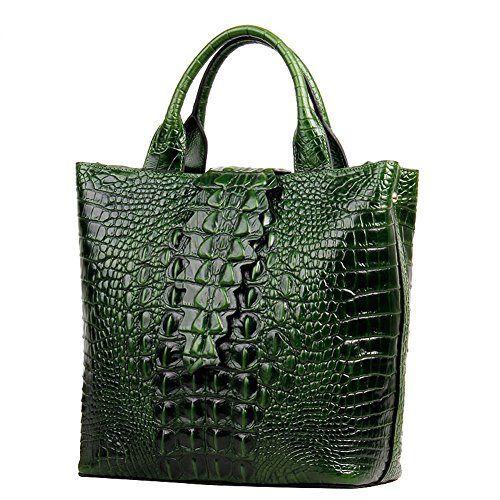Jsix Shoulder Genuine Bag Handbag Top Crocodile Green Womens handle Leather Embossed HrqHYR