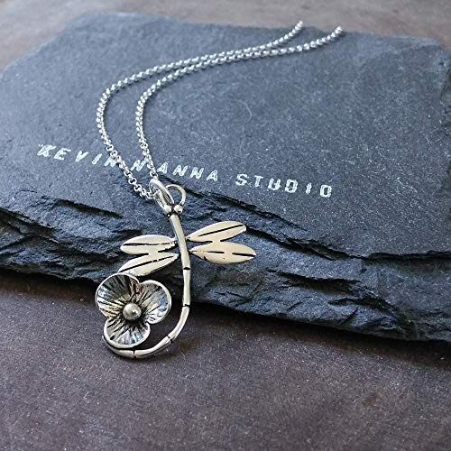Sterling Silver Dragonfly Pendant Necklace, 20