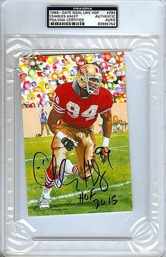 Charles Haley Signed Goal Line Art Postcard #290 San Fran...