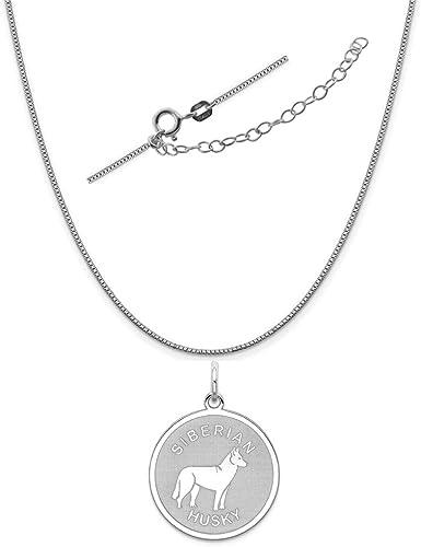 Sterling Silver Siberian Husky Disc Charm