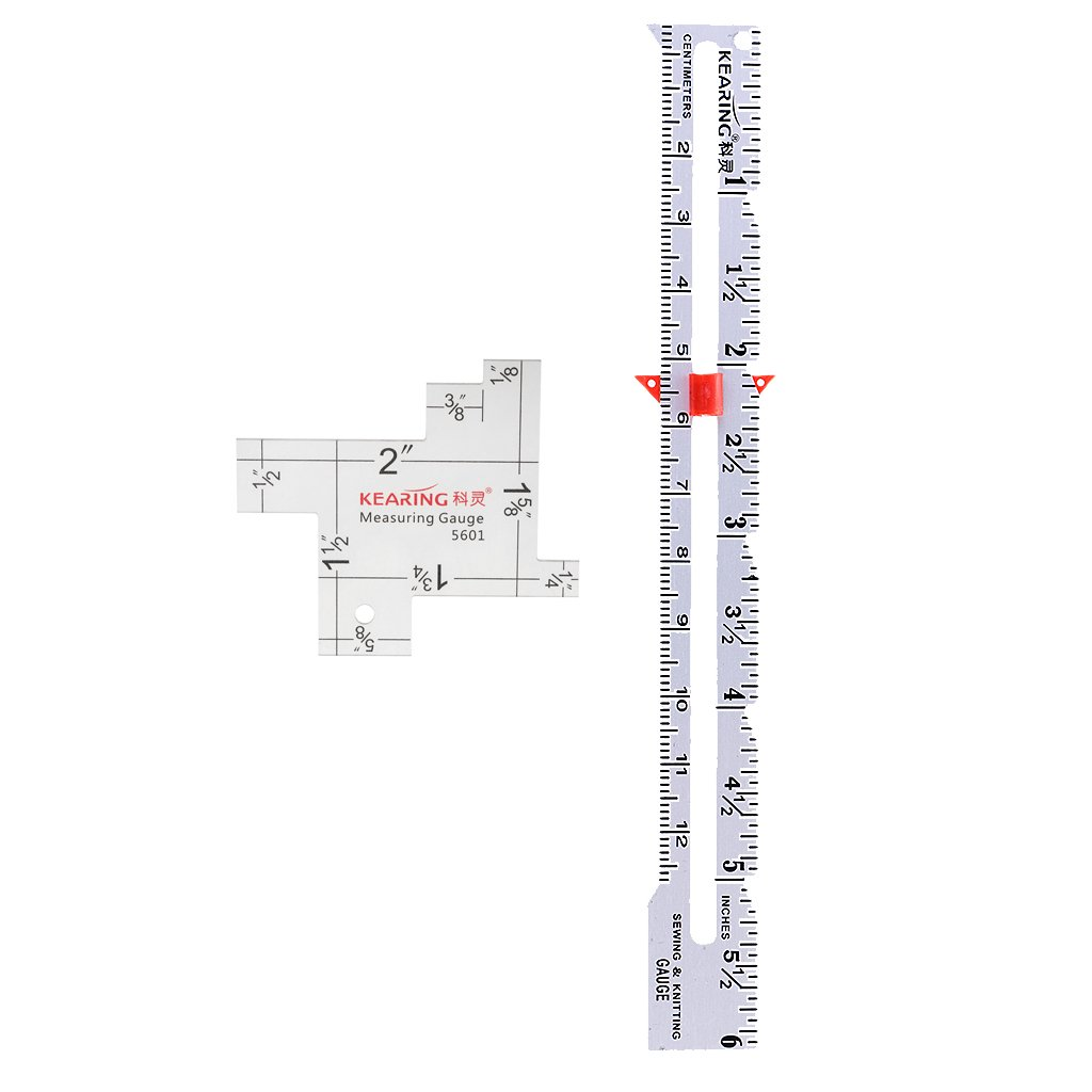 Jili Online 2 Pieces 2/6 Sewing Knitting Measuring Gauge Quilting Ruler DIY Crafting Tool