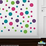 Set of 60 Circles Polka Dots Vinyl Wall Decals (Purple / Turquoise / Lime Green / Hot Pink)