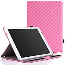 iPad Air 2 Case - MoKo Slim-Fit Multi-angle Folio Cover Case for Apple iPad Air 2 (iPad 6) 9.7 Inch 2014 Tablet, Carbon Fiber PINK (with Auto Sleep / wake, Not fit iPad Air 2013)