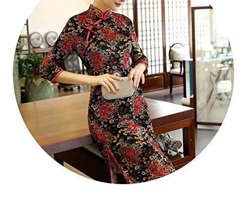 浮浪者彼らのものチューインガムチャイナドレスベルベットの襟の長いセクションスリムなドレス大きなサイズのドレス,三色,推奨5XL160-170 kg