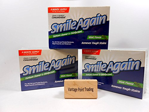 Smile Again Denture & Retainer Cleaner - Cleans and Disinfects! 3-Pack with FREE Vantage Point Trading Brush! by Smile Again
