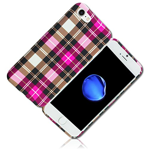 (mySimple Custom Made FLEX-Gel Silicone Fitted Case for Apple iPhone 8 PLUS & 8S PLUS w/ Soft Flexible Shock Absorbing Bumper Guard Edge & Checkered Plaid Pattern Design {Pink, Brown, White, & Black})