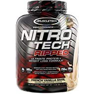 MuscleTech Nitro Tech Ripped Ultra Clean Whey Protein Isolate Powder + Weight Loss Formula, Low Sugar, Low Carb, French Vanilla Swirl, 4 lbs, 64 oz