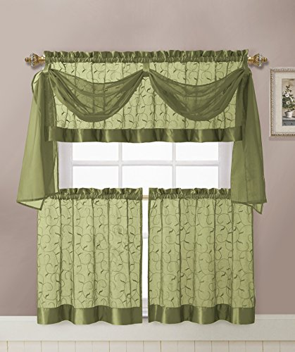 GoodGram Linen Leaf Embroidered Sheer Kitchen Curtain Set - Assorted Colors (Sage) - smallkitchenideas.us