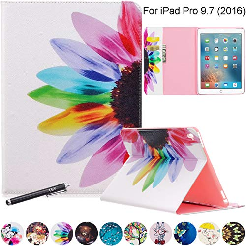 iPad Pro 9.7 Case, Newshine Premium Synthetic Leather Stand Case Cover with [Card Solts] for Apple iPad Pro 9.7 inch 2016 Release Table (Flower)