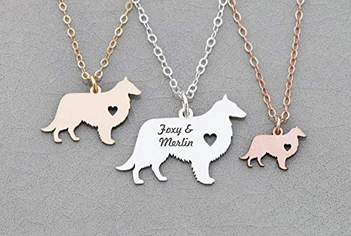 (Sheltie Dog Necklace - IBD - Shetland Sheepdog - Personalize Name Date - Pendant Size Options - 935 Sterling Silver 14K Rose Gold Filled Charm - Fast 1 Day Production)