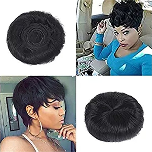 27 peices Short Human Hair Weave with Top Closure Wavy Virgin Hair Extension With Free Wig Cap and Shower Cap Natural Color #1B Natural Black