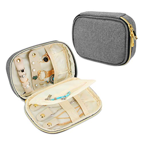 Teamoy Small Jewelry Travel Case, Portable Jewelry Organizer Bag for Earrings, Necklace, Rings and More, Small, Gray-(Bag Only)