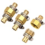 3Sets Brass 5/8'' Garden Hose Mender End Repair Male Female Connector with Stainless Clamp