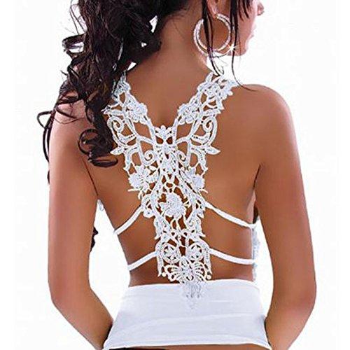 SKY Promotion !!!Mujeres Encaje Backless Spaghetti correa chaleco sin mangas blusa Tops Strap Vest Blanco
