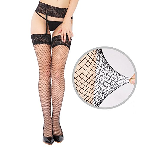 Sex Moment Women Black Fishnet Lace Tights Stretchy Thigh High Stockings Garter - Black Fishnet Stockings Garter