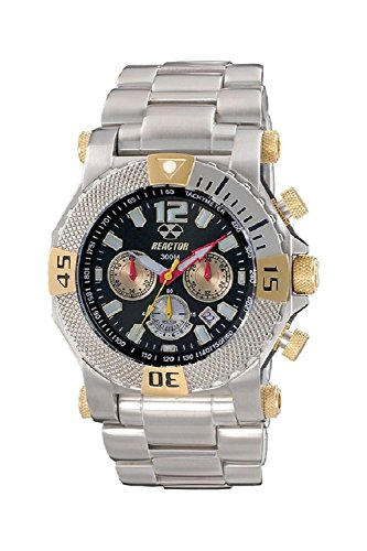 Reactor Neutron Men's Chrono Stainless Steel Date Watch 2-Tone Black Dial 93101