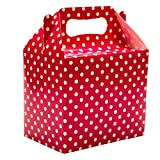 MAZIMARK--Polka Dots Spots Children's Birthday Party Colored Paper Lunch Loot Gift Boxes