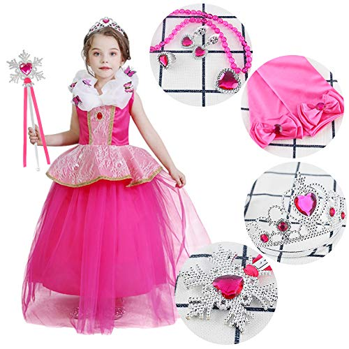 3 otters Princess Dress Up, Princess Costume Accessories Princess Dress Up Accessories Childrens Crown Magic Wand Gloves Necklace Earring Set Prom Party Dress Up Girl Red 6PCS