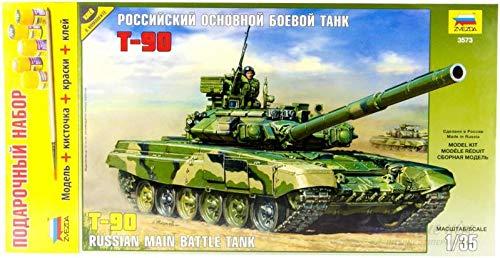 ZVEZDA 3573 P Russian Main Battle Tank T-90 Gift Set (Paints Included) Plastic Model Kit Scale 1/35 451 Details Lenght 10.5