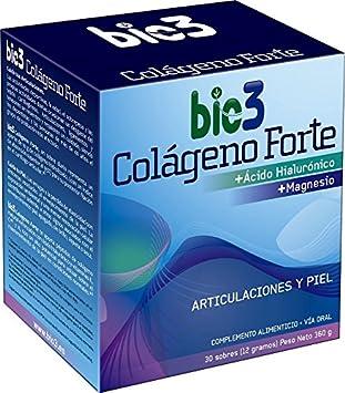 NUEVO bio3 - Colágeno Forte. Colágeno Hidrolizado alta absorción (líder del mercado), Ácido Hialurónico, Magnesio, vitaminas C, A y K. Agradable sabor ...
