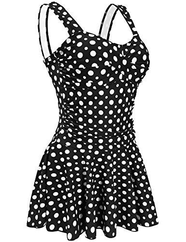 (AONTUS Women's Monokini Swimsuits Skirted 1 Piece Plus Size Swimwear for Retro Bathing Suits)