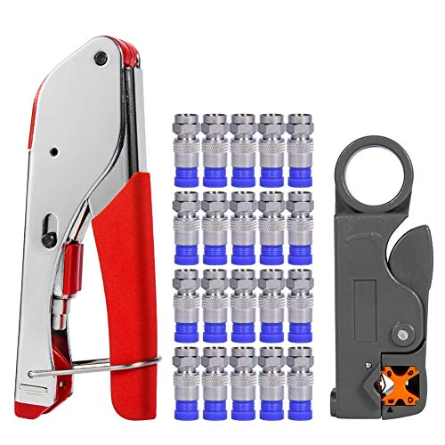 - Coax Cable Crimper, Coaxial Compression Tool Kit Wire Stripper with F RG6 RG59 Connectors #TCYJGJ