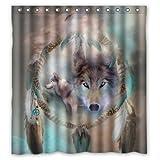 abigai Best Cool Wolf Dream catcher Style Custom Printed Waterproof fabric Polyester Bath Curtain Bathroom Decor Shower Curtain 60''(w) x 72''(h)