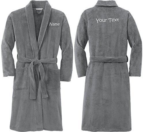 Personalized Plush Microfleece Robe with Embroidered Name & Back, Smoke, Small/Medium (Bathrobe Monogrammed)
