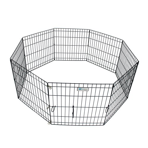 ValuPlanet Epoxy Folding Dog Exercise Pen, 36-Inch, Black