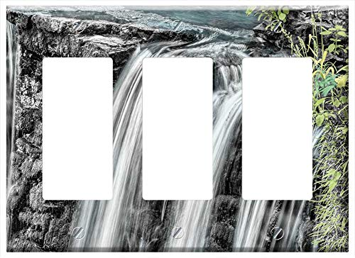 (Switch Plate Triple Rocker/GFCI - Waterfall Water Cascade Downfall Chute Current)