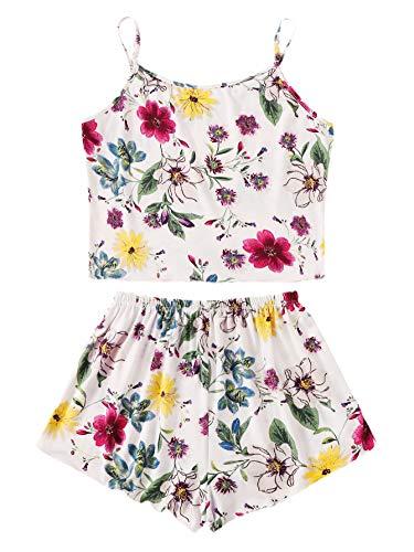 SheIn Women's Floral Print Cami Crop Top and Shorts Pajamas Set Medium Multicolor