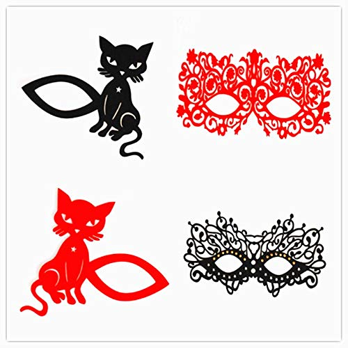 Black Red Lace Face Mask Reusable Face Tattoo Stickers Eye Stickers for Party -