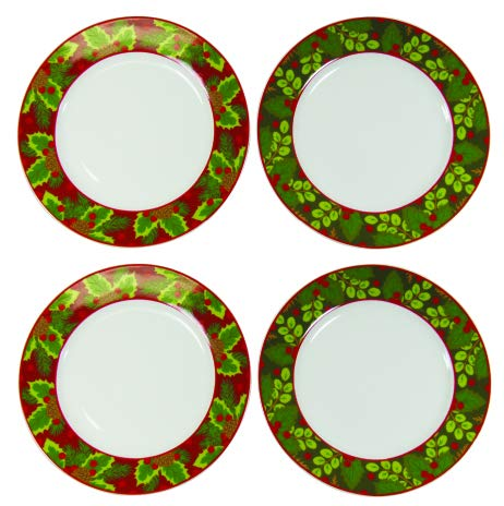 (Maison Plus Holiday Collection - Christmas Themed Tableware (Holly Plates) )