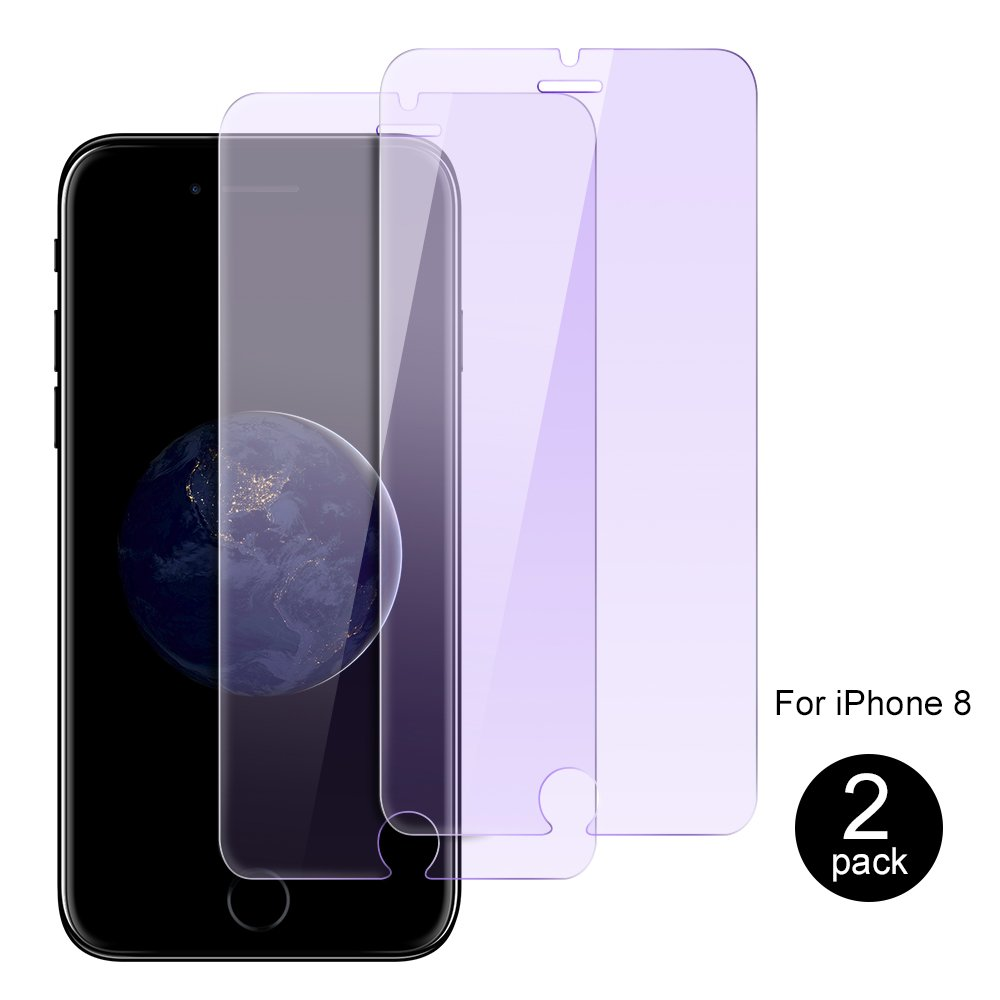iPhone 8 / 7 Screen Protector Tempered Glass, 2-Pack Tempered Glass Screen Protector 9H Hardness Anti-Scratch Eyes-Protection Film for iPhone 8 / 7 (4.7 inch) - Bluelight Filter