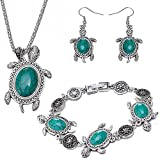 LWLH Jewelry Vintage Alloy Resin Turquoise Turtle Pendant Necklace Bracelet Dangle Earrings Gift 3pcs Set