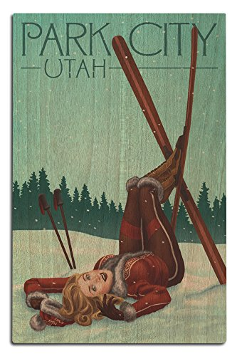 Park City, Utah - Ski Pinup (12x18 Wood Wall Sign, Wall Decor Ready to Hang) (Wood Ski Water Sign)