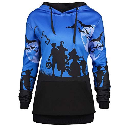 ANJUNIE tops Women Hooded Halloween Moon Bat Print Pullover, Drawstring Pocket Hoodie Sweatshirt (Blue,XL) -
