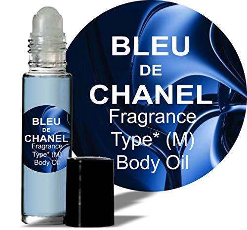 Bleu de Chanel Type Fragrance for Men Body Oil (M) Cologne 1/3 oz roll on Glass Bottle ()