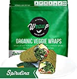 Raw Organic Spirulina Veggie Wraps | Wheat-Free, Gluten Free, Paleo Wraps, Non-GMO, Vegan Friendly Made in the USA (8 Pack)