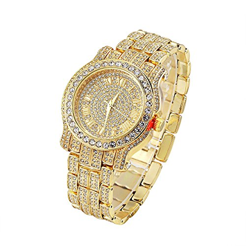Men's Hip Hop Luxury Iced Out 14K Gold Plated Metal Band Rapper's Bling Watch(Gold) 14k Yellow Gold Wrist Watch