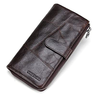 Contacts Men Genuine Leather Bifold Wallet Checkbook Organizer Card Case 12 Cards