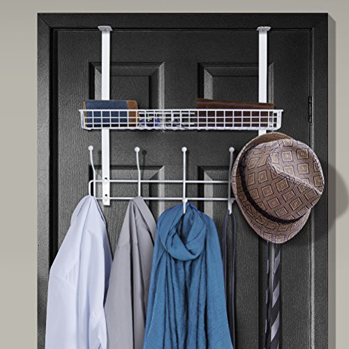 Lifewit Over The Door Hook Hanger Two Tiers with 10 Hooks and Mesh Basket Adjustable Storage Rack for Coats Hats Robes to (White)